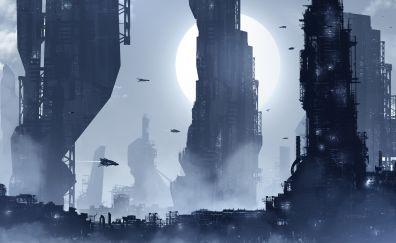 Giant Futuristic city artwork