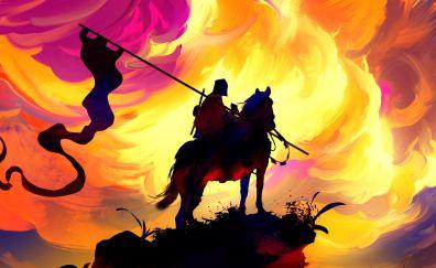 Fantasy illustration artwork of worrior