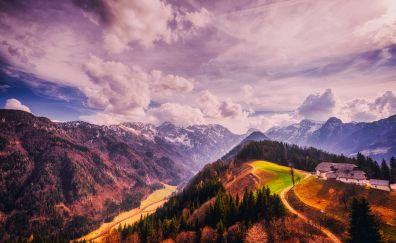 Slovenia mountains, sky, horizon, clouds, nature