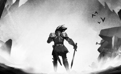 A blind legend, video game, warrior, monochrome