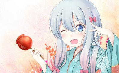 Lollipop, Sagiri Izumi, anime girl, wink