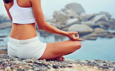 Yoga, meditation, fitness, rocks