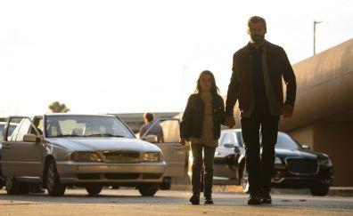 Hugh Jackman and girl, Logan movie