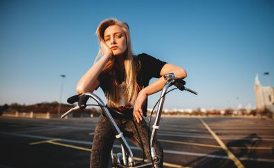 Riding bicycle, girl, model, blonde, outdoor