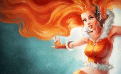 Red head, fantasy girl, art