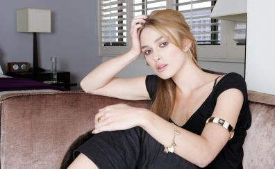 Blonde, black dress, Keira Knightley, sitting
