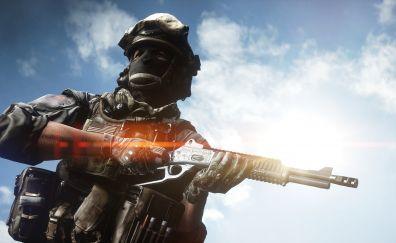 Battlefield 4, video game, solider, gun