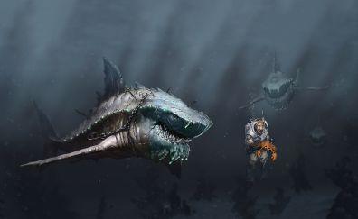 Digital art work of shark and man