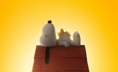The peanuts movie, dog puppy, sleep