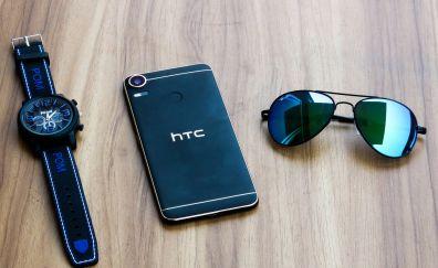 HTC mobile, watch, sunglasses