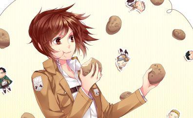 Sasha Blouse, Sasha Braus, Attack on Titan, eating, anime girl