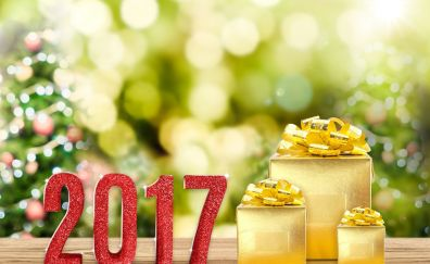 New year 2017, gift boxes