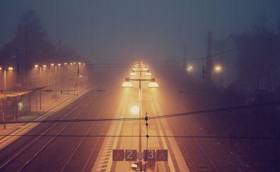 Train station in foggy night