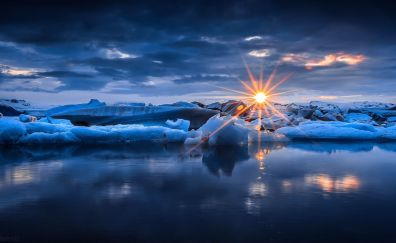 Sunset at glacier