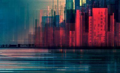 Glitch art, city, abstract