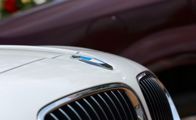 BMW, white car, logo