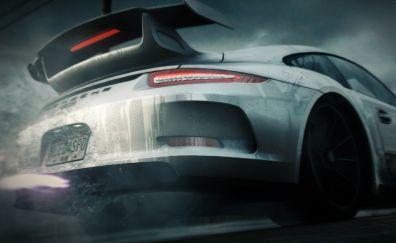 Porsche 911 GT sports car, rear view