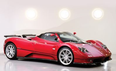 Pagani Zonda C12, roadster, red sports car