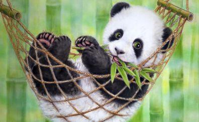 Happy panda, animal, artwork