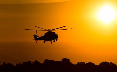 Mil mi 2 attack helicopter silhouette