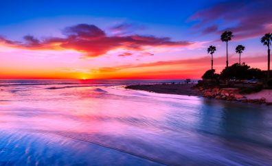 California beach, sunset, evening, nature, yellow skyline