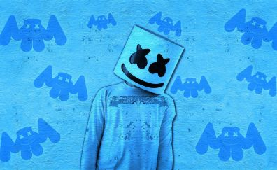 Marshmello, DJ, art, blue