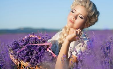 Closed eyes, girl, model, lavender, flowers
