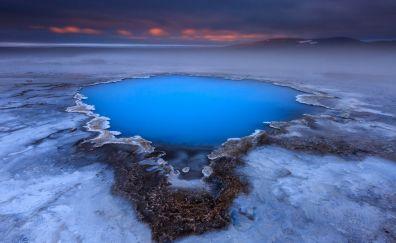 Iceland, blue lake, landscape, nature