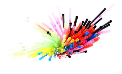Colorful, drinking straw