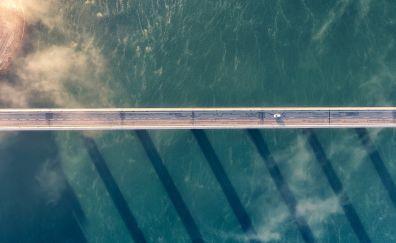 Bridge, suspension bridge, architecture, aerial view