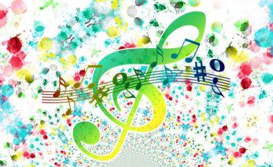 Treble clef notes colorful artwork