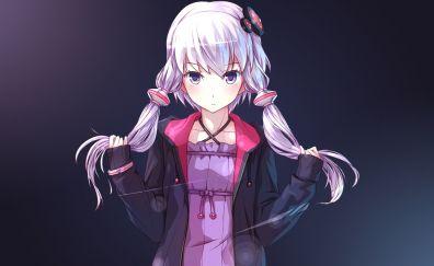 Yuzuki Yukari, Vocaloid, white hair, anime anime girl