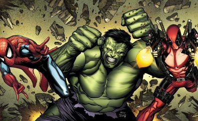 Deadpool, hulk, spider man, marvel comics, superhero