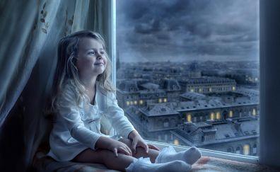 Cute little girl, smile, sitting, window, night