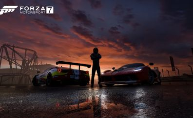 2017 video game, Forza Motorsport 7, game, night, cars