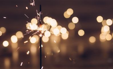 Sparkler, fireworks, glare