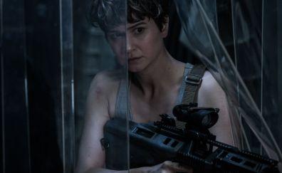 2017 movie, Alien: Covenant movie, Katherine Waterston, actress, gun