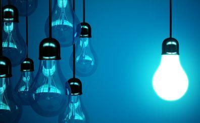 Light bulb, glowing, hanging bulbs