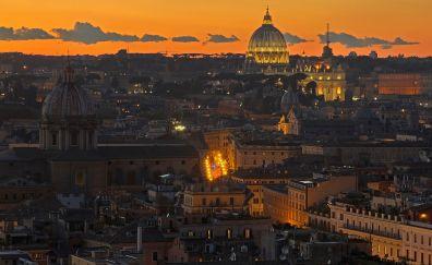 Rome cityscape, sunset