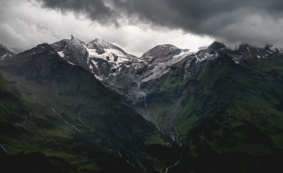 Snow mountains and clouds