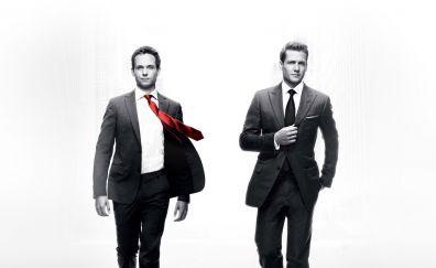 Suits TV series, walking, suit, Gabriel Macht, Patrick J. Adams