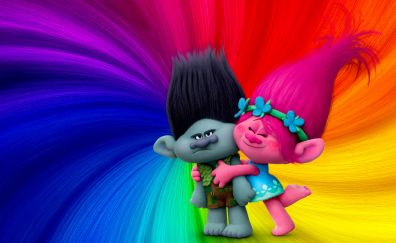 Trolls animation movie, 2016 movie, colorful