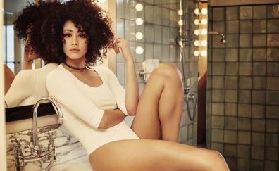 Hot Nathalie Emmanuel, sitting in bathroom