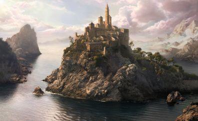Fantasy, river, mountains, castle, art