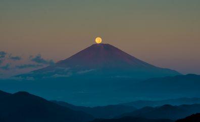 Volcano mountain in night