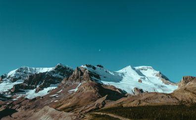 Snow mountains, nature, blue skyline
