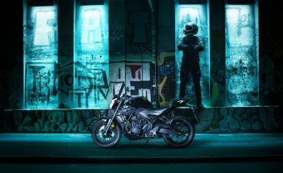 Yamaha MT-03 bike, night, graffiti