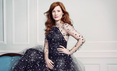 Navy blue dress, Jessica Chastain, sitting
