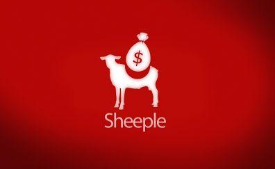 Sheeple, sheep, money, red, humor, abstract