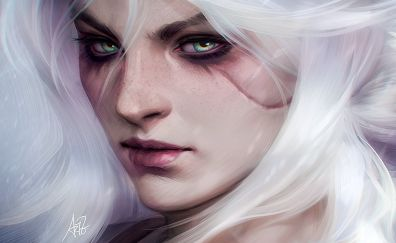 The witcher video game, girl, witch, face, fan art